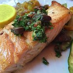 Salmon with baby vegetables