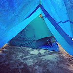 Green tent: site 121 Blue tent: site 427