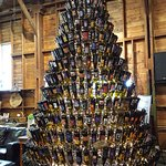 Christmas tree made with upside down wine bottles.