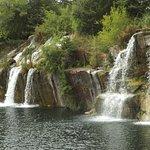 Two waterfalls at Daggett Memorial Park in Montello