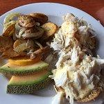 Crab Benedict and Potatoes Lyonnaise.