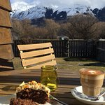 The famous carrot cake & coffee on the deck