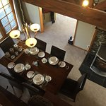 Looking down from the upstairs bedroom to the dining room