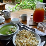 Soup that come with lunch. Popcorn is for the soup (like Americans use crackers in soup)