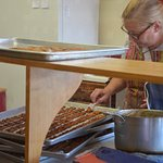 Turtles being made by hand at the Candy Shoppe in Bayfield, WI