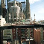view of La Sagrada Familia from our balcony