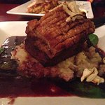 Pork Belly Special with Sauerkraut & Bacon Mash with a balsamic sauce.