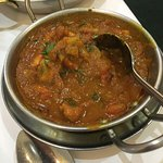 Two parts of the lamb and chicken balti dish