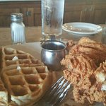 Chicken and waffles! Yummy!