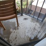 divot in concrete balcony