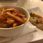 Kids chilli beef penne pasta with garlic bread