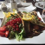 Loup de Mer, yummy Sea bass with mediterranean salad and a tangy dressing