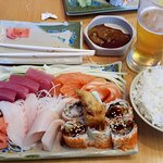 Sashimi with spider roll