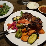 3 lamb chops with grilled veggies mmm!