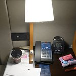 Nightstand with outlets - even USB, in Alcove two doubles-corner suite on the 16th floor