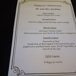 Special menu prepared for a our anniversary
