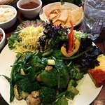 Vegan lunch option: veggie-stuffed charred poblano with a cilantro vinaigrette.