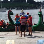 Families renting dragon boats