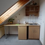 Kitchenette and roof window.