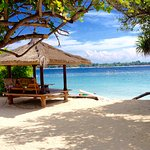 One of the cabanas, looking over to Gili Trewangan