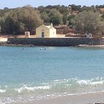 A view of the chapel on the shore of the local bay