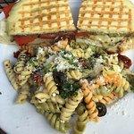 Roasted Chicken sandwich w/ pasta salad
