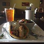Chicken Souvlaki Pita Wrap and Tabouli.  Drinking unsweetened tea.