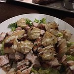 Steak/chicken caeser salad/belly pork starter/lettuce and sauce