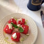 Pressed watermellon with mint oil and feta ... spectacular!