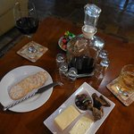 our evening drinks, with cheese platter