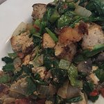 Tofu Scramble with Spinach, Onions, Bell Peppers, Potatoes