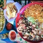 Macho Burrito and Shrimp & Mushrooms in Garlic Sauce