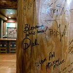 Post by the helix spiral staircase -- famous guests would sign their name. Signature of Oprah