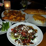 Mild hot wings, Warm crab dip, Grilled romaine salad.