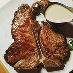 T-Bone steak with blue cheese sauce