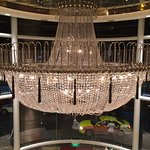 chandelier overlooking the welcome foyer at the lobby