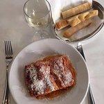 Lasagna, white wine and focaccia.. Yummy!