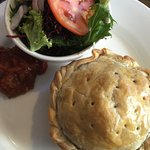 Speciality pie, salad and chutney