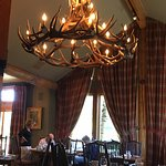 Dining room with antler chandelier