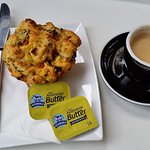 Savory muffin with coffee