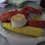 Classic whole lobster, corn on the cob and a buttermilk biscuit