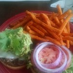 Burger and sweet potato fries!,