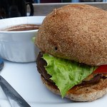 Thorburger and black bean soup