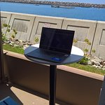 Room patio serves as a great seaside office!