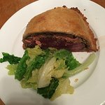 One half of the Beef Wellington for two, perfectly cooked (as requested).