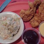 2 tiny chicken tenders, slaw, & sauce - their lunch special. Pitiful.