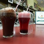 huckleberry freeze phosphate and a chocolate ice cream soda