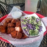 Salmon bites and broccoli salad from Chipper Fish in Hoonah, AK