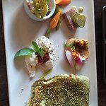 Smoked trout rillette, horseradish créme fraiche. Burrata, basil, spicy tomato jam. Country pork