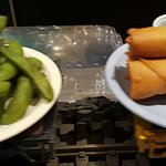 Edamame and spring rolls